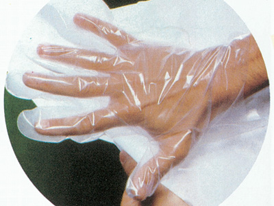 COPOLYMER GLOVES ON PAPER - non sterile