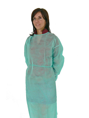 DISPOSABLE POLYTHENE GOWNS - green - non sterile