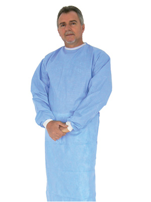 DISPOSABLE SURGICAL SPECIALISTIC GOWN - light blue - sterile - L