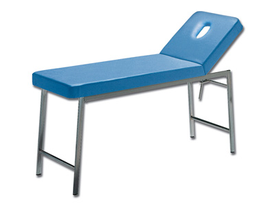CLASSIC EXAMINATION COUCH - chromed - blue - backrest with hole