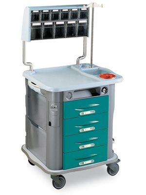 AURION DRESSING TROLLEY - with IV stand and upper drawers