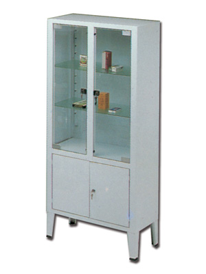 CABINET - 4 doors - 3 shelves - tempered glass