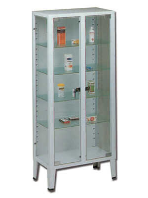 CABINET - 2 doors - 4 shelves - tempered glass