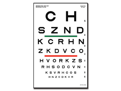 SLOAN OPTOMETRIC CHART 23 x 35.5 - 6.1 m