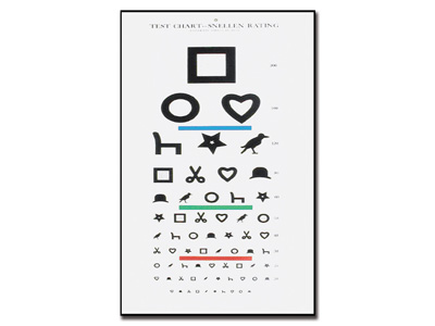 EWING ILLITERATE OPTOMETRIC CHART 28 x 56 - 6.1 m