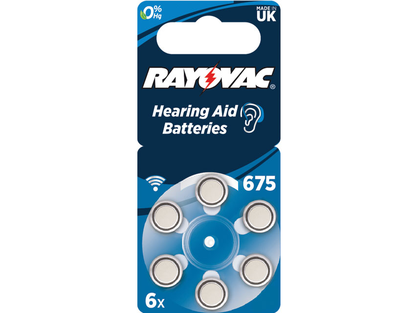 RAYOVAC 675 ZINC-AIR ACOUSTIC BATTERY - mercury free