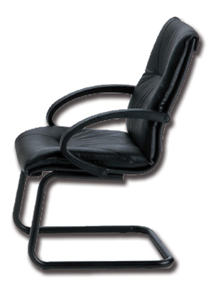 SALISBURGO CHAIR - visitor cantilever - black leather (SK)