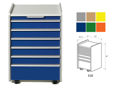 DRAWER S10 - color on demand (grey, beige, yellow, blue, green, orange)