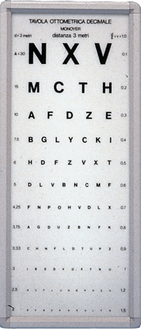 MONOYER OPTOMETRIC CHART - 3 m  - not illuminated